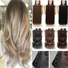 US Real Long 100% Natural Extensions Clip in HAIR EXTENTIONS 3/4 Full Head H14