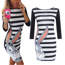 Womens Rabbit Print Stripe Mini Dress Casual Bodycon Summer Party Ladies Dresses