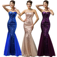 Mermaid Strapless Sequined Tulle Ball Gown Evening Prom Nobility Party Dresses
