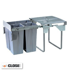 68 Litre Soft Close Kitchen Waste Bin 3 Compartments Cabinet Width 600mm Recycle