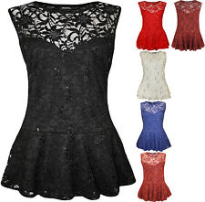 Womens Sleeveless Lace Sequin Ladies Peplum Frill Vest Party Shirt Top 14-28