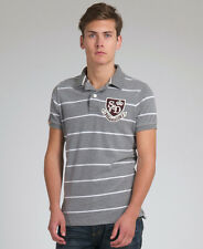 New Mens Superdry Shield Applique single Stripe  Polo T-Shirt Dark Marl Grey