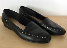ENZO ANGIOLINI Liberty Square Toe Black Leather Metal Accent Loafers Flats 7 M
