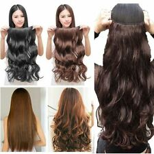 Real One Piece Half Full Head Clip In Hair Extensions Long Human As Brown Red Hc