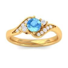Blue Topaz FG SI Natural Gemstone Diamond Engagement Ring Yellow Gold
