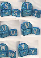 Justice for Girls Turquoise Sequin Sparkle Backpack & Lunch Box Set U-Pick!