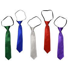 Boys Tie Solid Shiny Adjustable Necktie Formal Teen Kids Wedding Neck Tie