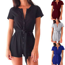 Sexy Women Short Sleeve Jumpsuit Romper Ladies Summer Casual Party Mini Dress