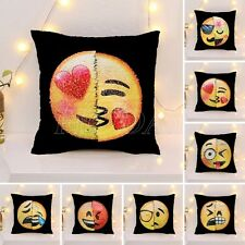 Reversible Sequin Mermaid Pillow Emoji Expression Cushion Cover Sofa Home Decor