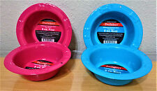 PROSELECT Embossed Stainless Steel 8 oz Dog Food & Water Bowl Set Pink or Blue