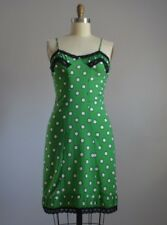 JEAN PAUL GAULTIER for Target GREEN WHITE POLKA DOT SLIP DRESS with BLACK LACE