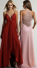 New Dave & Johnny Pink Chiffon with Crystal Prom/Pageant Gown $242