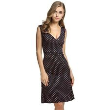 ANGVNS Ladies Women Summer Tank Dress V-neck Polka Dots Slim Fitted KECP01