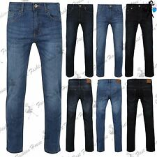 Mens Designer Faded Casual Straight Leg Regular Fit Pants Trousers Denim Jeans