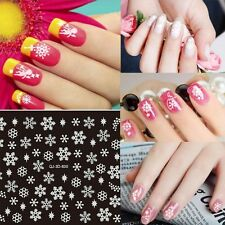 Christmas Snowflakes Bows 3D Nail Art Stickers Decals Transfer White Gold Silver
