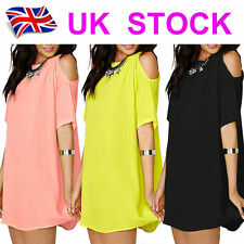 Womens Dresses Plus Size Chiffon Baggy T-Shirt Blouses Off Shoulder Tops 6-20