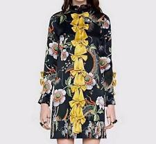 Womens New Spring Runway edge pressure Floral printed fashion Long Sleeve dress