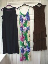 Ladies 10 12 14 Brown Blue Floral  Work Holiday Casual Hippy Boho Maxi Dress