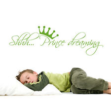 Wall Vinyl Decal Shhh... Prince Dreaming Quote Decal Crown Sticker Nursery aa350