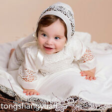 Unisex Baby Baptism Gowns Lace Applique White Ivory Christening Dresses Custom
