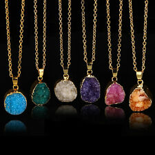 1PC Ladies Gold Plated Irregular Necklace Crystal Quartz Stone Chain Pendant New