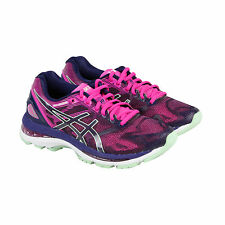Asics Gel-Nimbus 19 Womens Pink Blue Mesh Athletic Lace Up Running Shoes