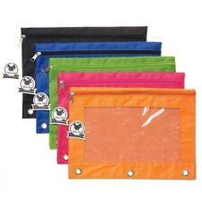5PCS Zippered Binder Pencil Pouch with Rivet Enforced Hole 3 Ring Pencil Case