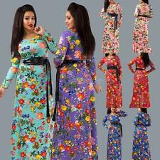 Womens Floral Print Summer Long Sleeves Dress O Neck Party Cocktail Dress T6E0