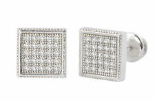 Square CZ Sterling Silver Screw Back Earrings Pave Cubic Zirconia Studs 8mm Stud