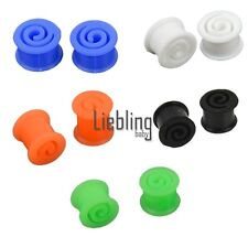 Pair 8-14MM Double Flare Flexible Silicone Ear Tunnel Plugs Swirl Earlets LEBB
