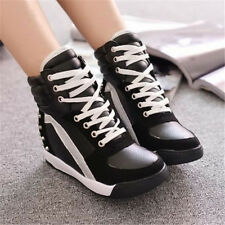 Girl Lady Rivet Perfect Suit Trainer Boots Hid Wedge Heel AU Good Sneaker Shoes