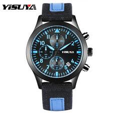 YISUYA Date Chronograph Luminous Canvas Band Men Sport Quartz Wrist Watch Gift