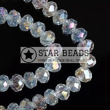 FACETED RONDELLE CRYSTAL GLASS BEADS CRYSTAL AB 4MM,6MM,8MM,10MM
