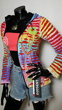 Hippy Boho Slashed Patchwork Pixie Hooded Nepal Cotton Festival Jacket Cardigan