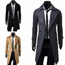 New Men's Stylish Double Breasted Overcoat Trench Coat Winter Warm Slim Jacket