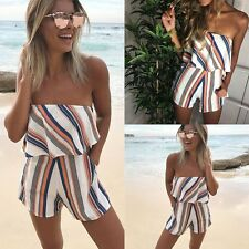 Women Fashion Boat Neck Striped Romper Playsuit Party Evening Shorts Jumpsuit