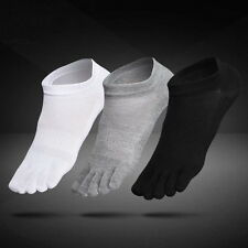 6 Pairs Mens Cotton Toe Five Finger Socks Solid Ankle Sport Breathable Low Cut