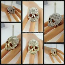 Crystal Skull Ring Unique BLING  - One Size Fits Most - Gold/Silver (USA SELLER)