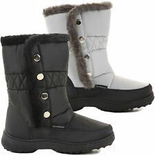 WOMENS LADIES FLAT SNOW WINTER FUR LINED KNEE CALF HIGH WELLIES BOOTS SHOES SIZE