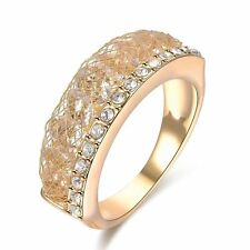 Austrian Crystal Wire Mesh Net Band Ring 18K Yellow GP Fashion Women Gift R1810