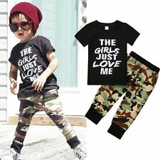 1-5T Toddler Kid Baby Boys Clothes Set GIRLS JUST LOVE ME T-shirt+Camo Pants Set