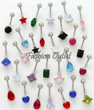 CZ ROUND 10mm Solitaire Belly Button Ring Navel Dangle Barbell 14G 7/8""