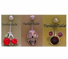 """CZ CHERRIES- SKULL- MOUSE Belly Button Ring Navel Dangle Barbell 14G 7/8"""" 316L"""