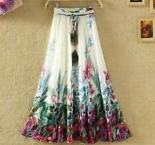 Womens Bohemia Chiffon Elastic Waist Long Floral Print Dress Beach Maxi Skirt Sz