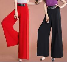 Womens Wide Leg Pants Summer Casual Bohemian Loose Chiffon Work Dress Trousers