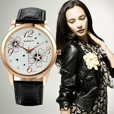 Hot Sale Luxury Crystal elegant flowers fashion watch Leather Strap Ladies Watch
