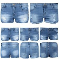 Womens Hot Pants Ladies Denim Raw Edges Ripped Destroyed Distressed Faded Shorts