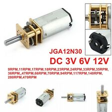 DC 12V/6V/3V 9-470RPM Mini Metal Gear Box Motor w Gearwheel Shaft Diameter N30