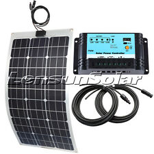 20W 30W 50W 60W 80W 100W 12V Flexible Solar Panel Full Kit, 10A Regulator,Cables