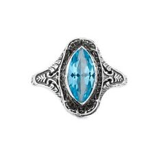 Marquise Cut Blue Topaz Art Deco Style Ring in Sterling Silver